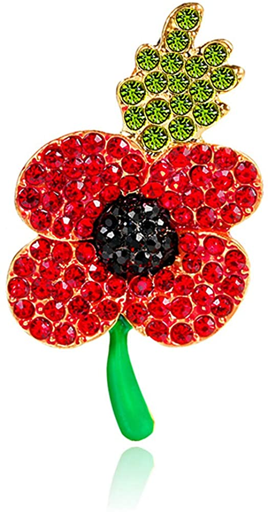 ETHOON Poppy Brooches Pin Red Black Flower Remeber Pins Veterans Day Memorial Day