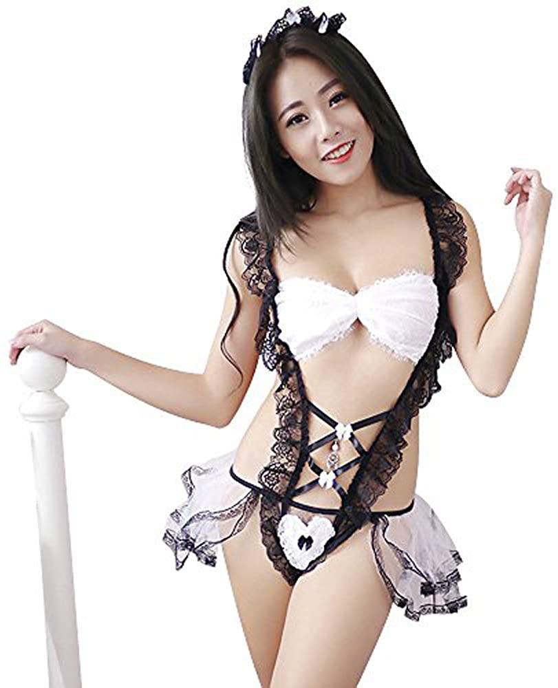 Womens Sexy Maid Underwear Lolita Cosplay Dress Lovely lace Bow Pajama Dress