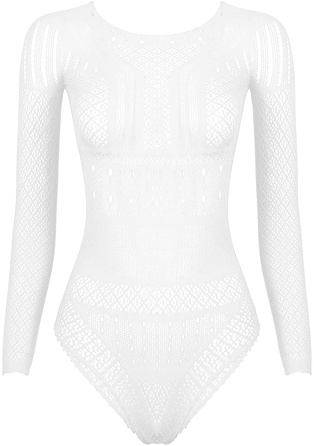 Agoky Womens One-Piece Sheer Fishent Hollow Out Leotard Bodysuit See Through High Cut Thong Romper Nightwear