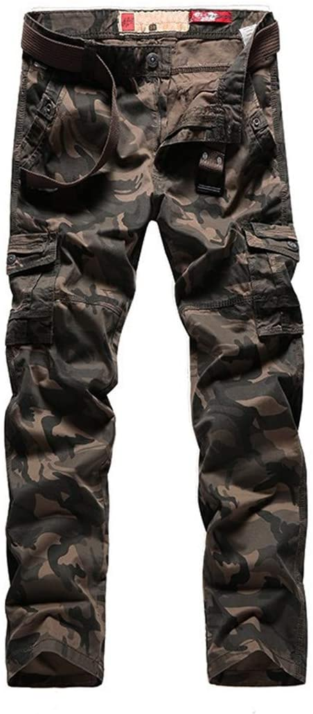 PUNKDBOTTO Mens Camo Pants Military Style Straight Trousers Long Belt Many Pocket Cargo Camouflage Pants