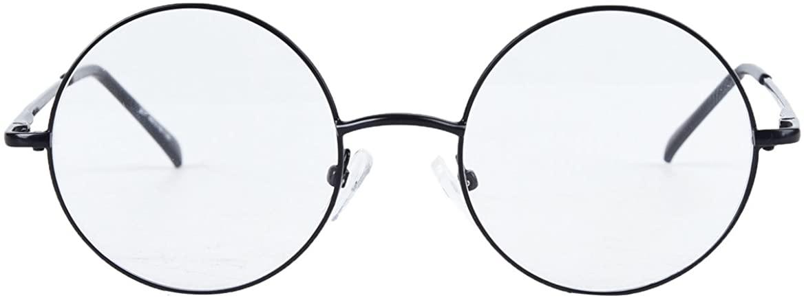 Bestum Retro Round Optical Spring Hinge Metal Glasses Frame Clear lens