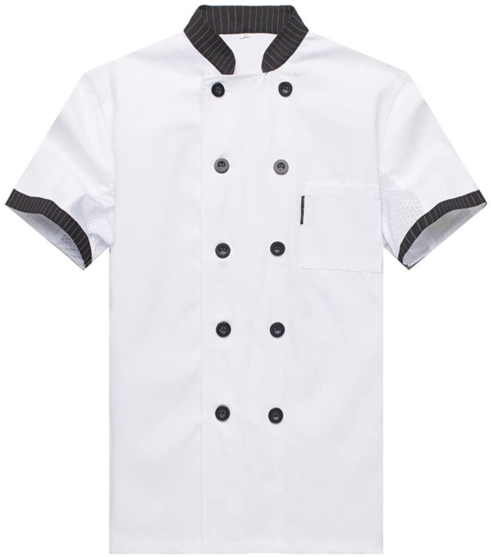 Chef Jackets Waiter Coat Short Sleeves Underarm Mesh Size US: XXL White (Label:4XL)