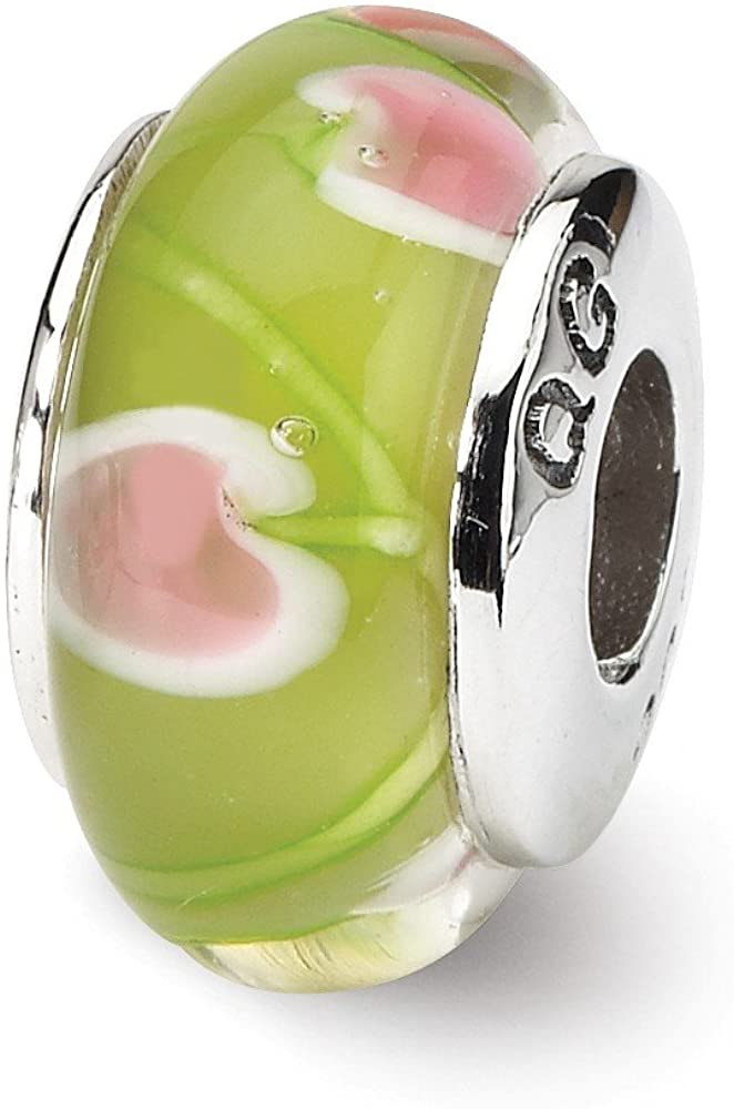 Bead Charm White Sterling Silver Glass 13.64 mm 7.27 Reflections Green Pink Hand-Blown
