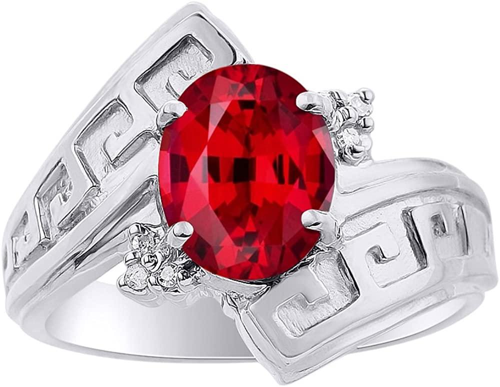 Diamond & Ruby Ring Set In 14K White Gold - Greek Key Design - Color Stone Birthstone Ring