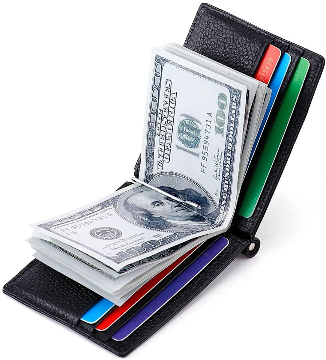 HAWEE Slim Card Case Money Clip Genuine Leather Cowhide Bifold Wallet RFID Blocking for Men