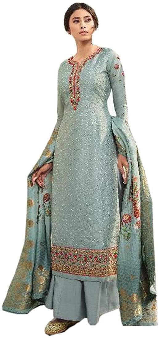 Bluish Grey Tussor Satin Silk Designer Party wear Salwar Kameez Indian Bollywood Muslim Women Suit 9621