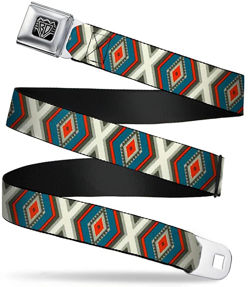 Buckle-Down Seatbelt Belt - Geometric Diamonds Grays/Red/Turquoise - 1.0