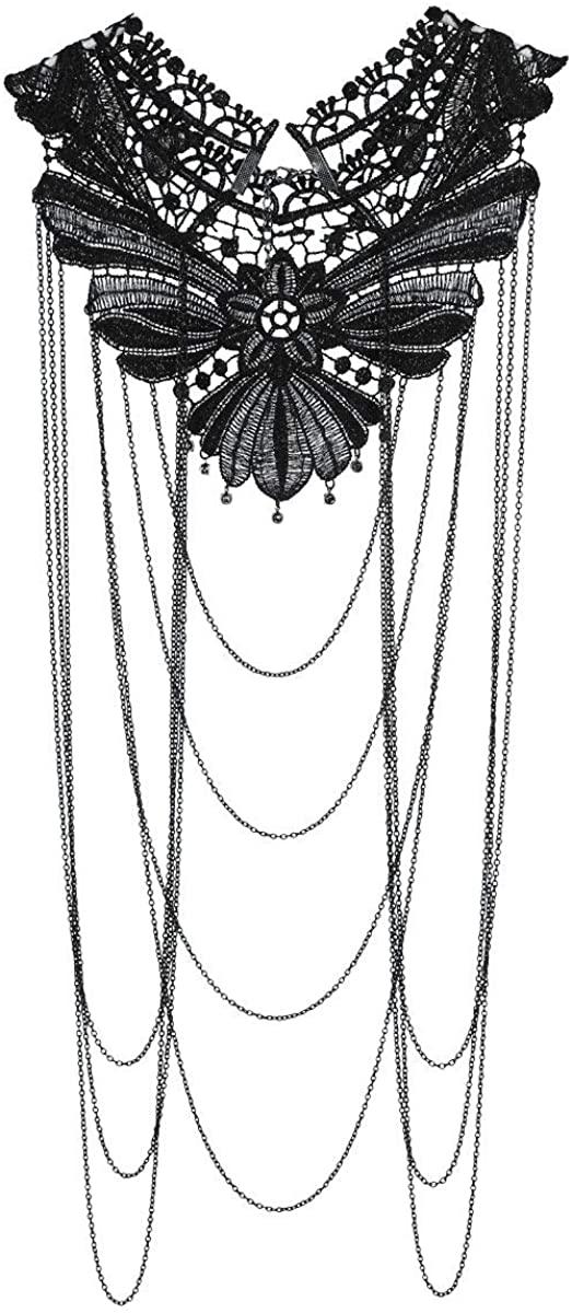 Zaldita Women Body Chain Floral Collar Lace Necklace Layered Tassel Bikini Jewelry for Halloween Party Roleplay Costume