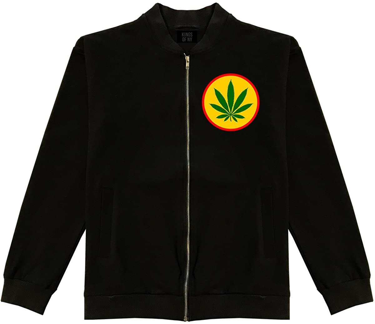 Ganja Green Weed Leaf Chest Mens Cotton Bomber Jacket
