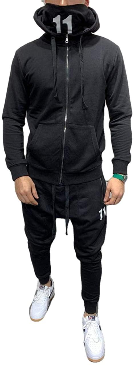 11 Masked Premium Tracksuit Team Black Hooded Tracksuit