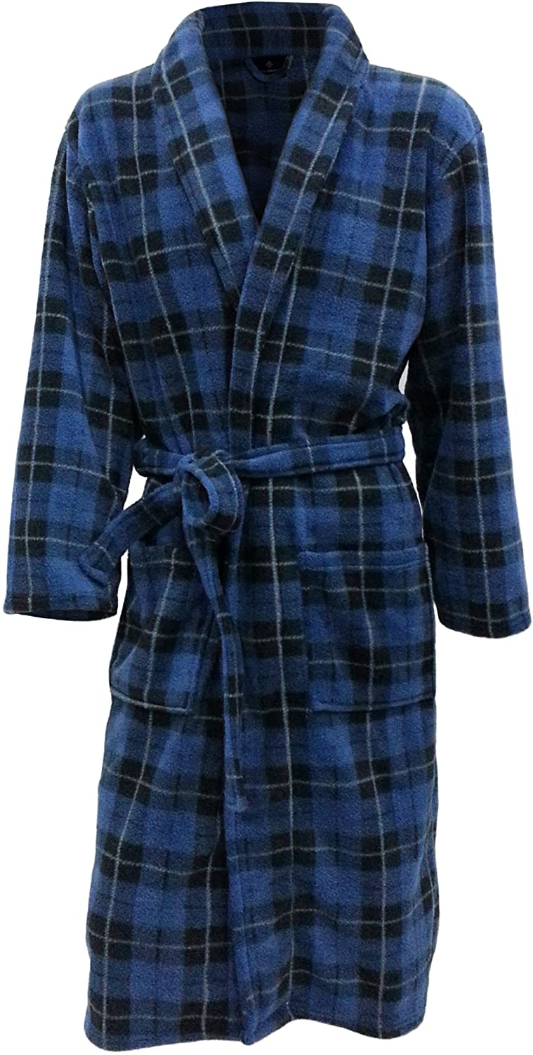 John Christian Men's Fleece Robe Blue Tartan
