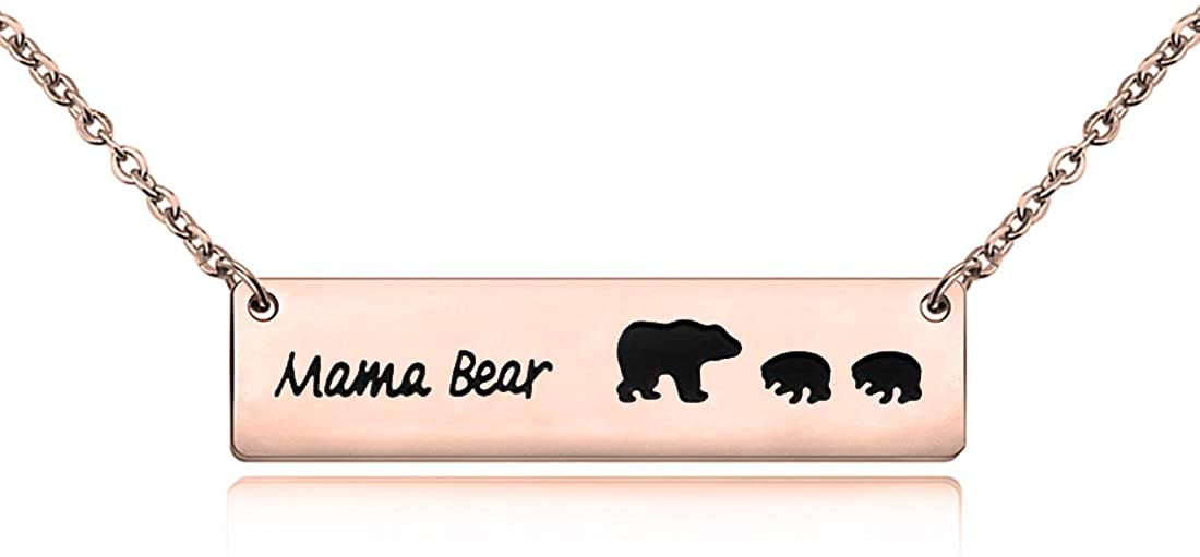 HOLLP Mama Bear Necklace Mommy Baby Bear Bar Necklace Gift for Mom