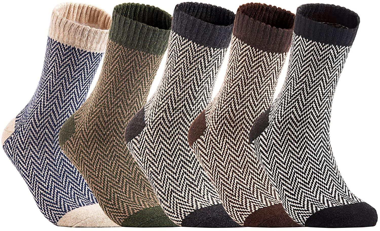 Lian LifeStyle Men's 5 Pairs Pack Rabit Hair&Wool Crew Socks Size 7-11 Stripped