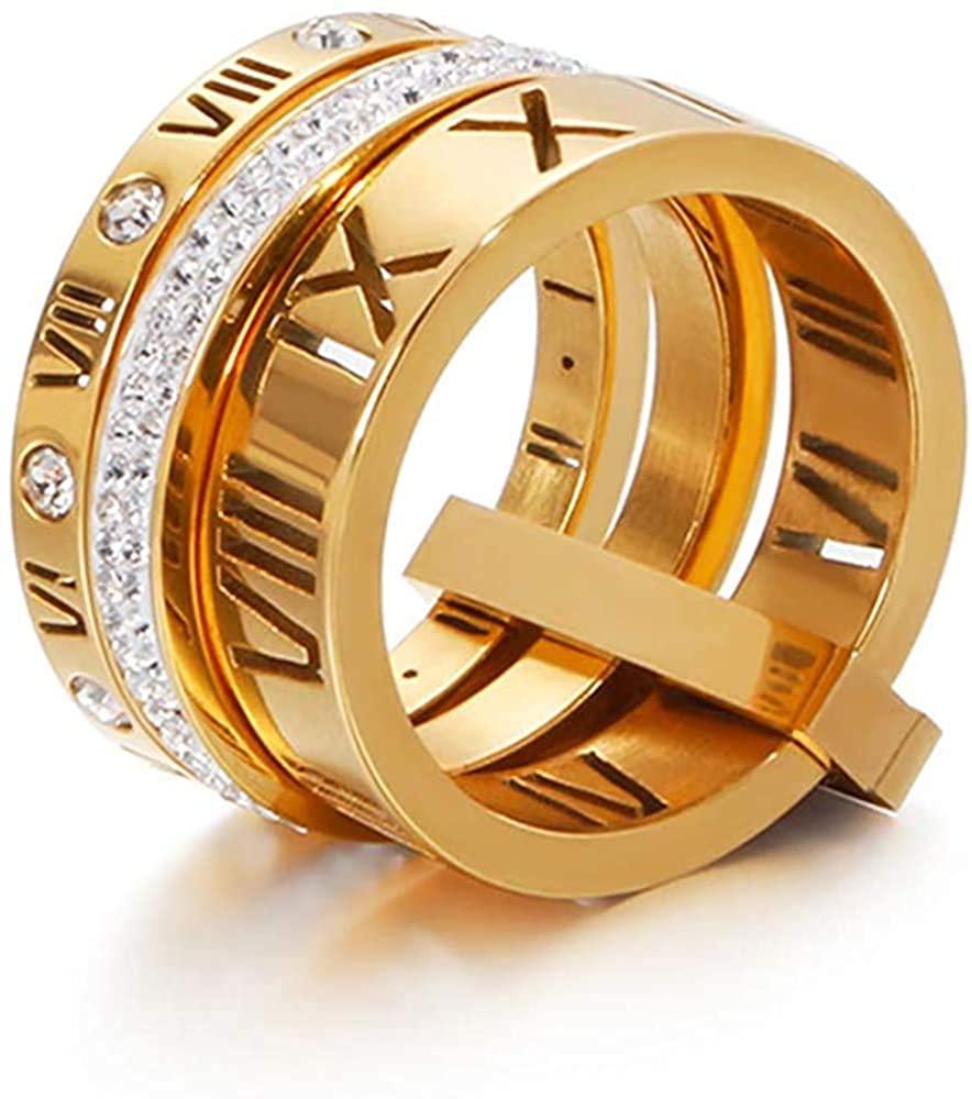 Jaline Stainless Steel CZ Zirconia Roman Numeral Ring for Women Girls 3 in 1 Spinner Rings