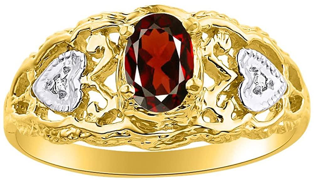 Diamond & Garnet Ring Set In 14K Yellow Gold Designer Hearts