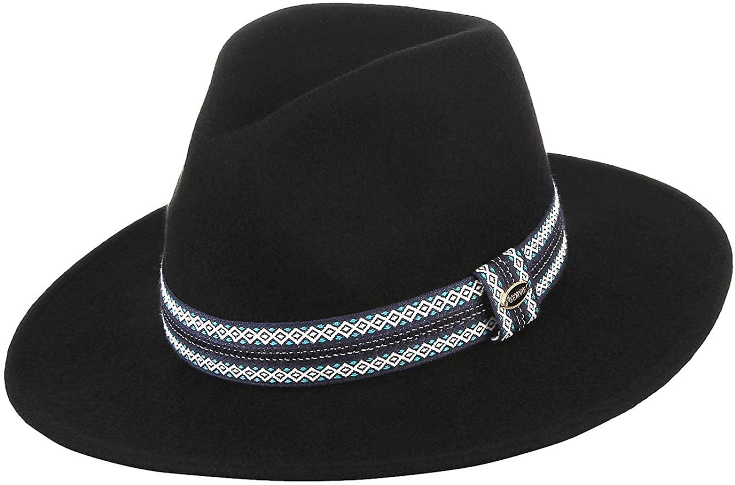 GEMVIE Men Wide Brim Hat 100% Wool Dress Crushable Fedora Hats Gangster Derby