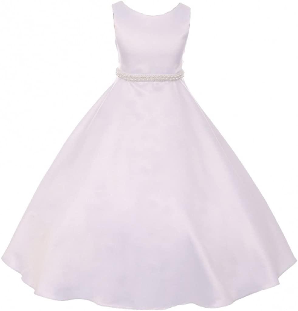 BluNight Collection A Line Satin Pearl Trim First Holy Communion Dress Wedding Flower Girl Dress