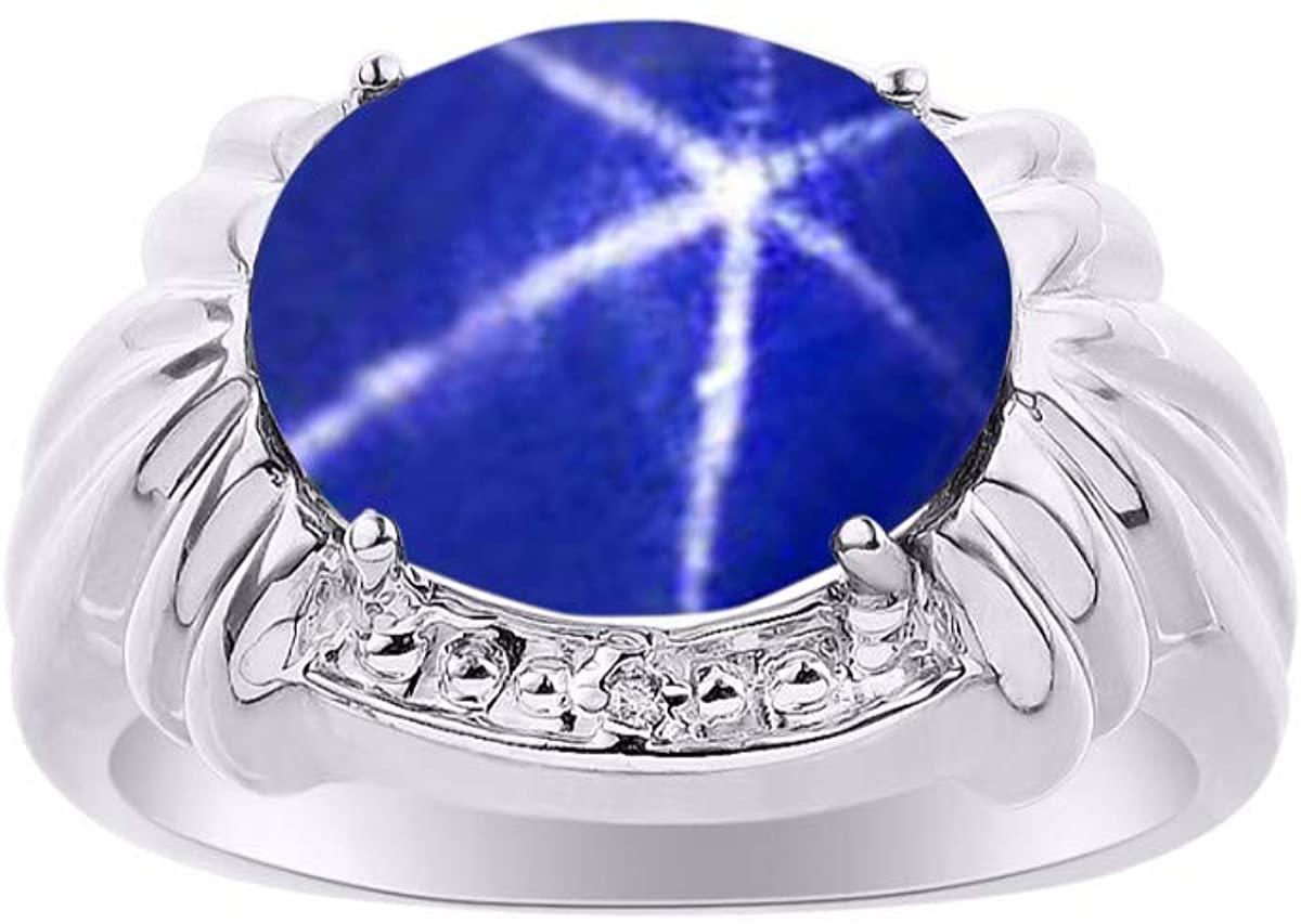 RYLOS Simply Elegant Beautiful Blue Star Sapphire & Diamond Ring - September Birthstone