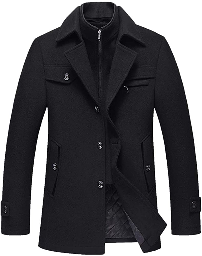 Elstrue Winter Warm Men's Business Woolen Trench Jacket Overcoat Pea Coat