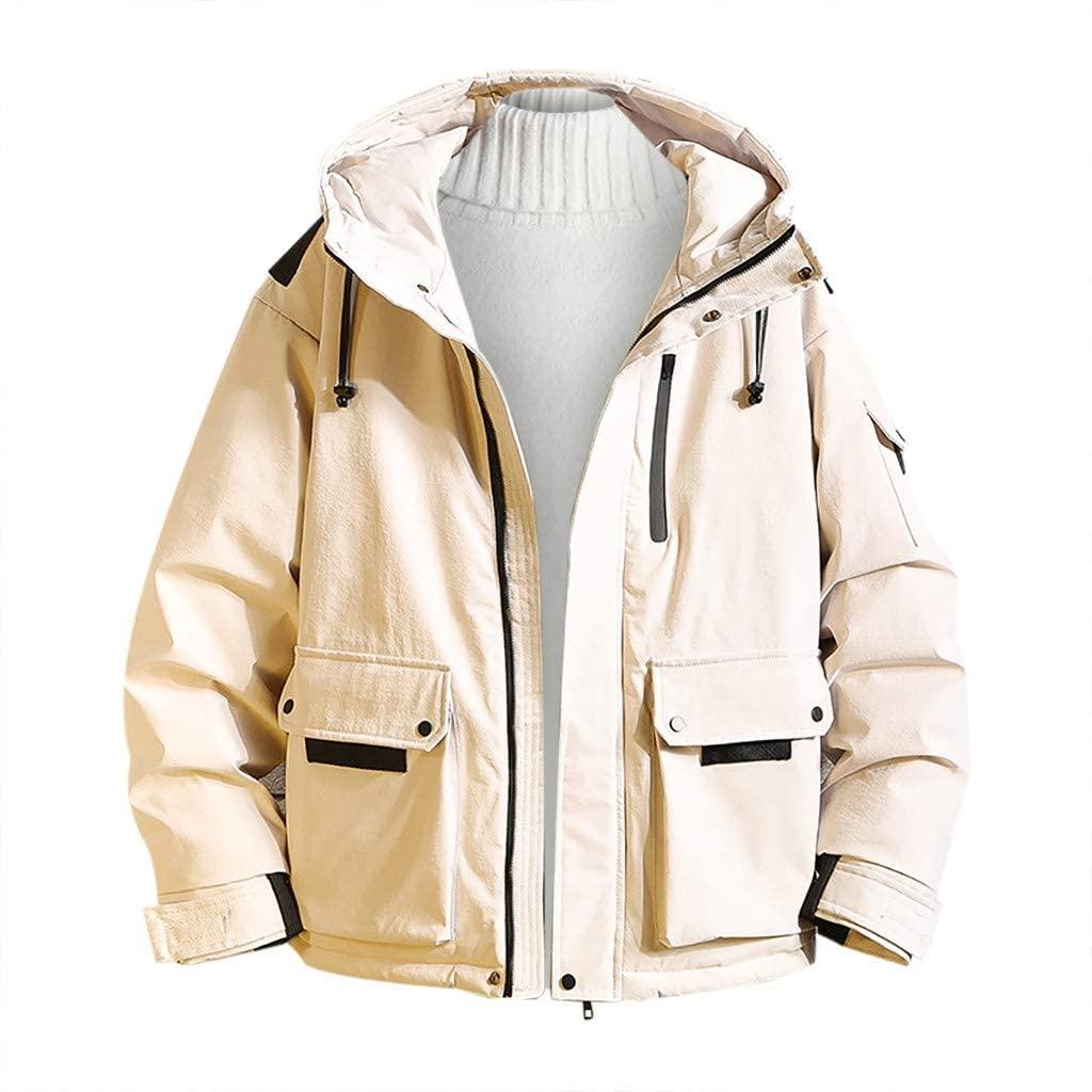 ESKNAS Mens Jackets Winter Coats Solid Color Hooded Sweatshirts Warm Thicken Outerwear Zipper Hoodies