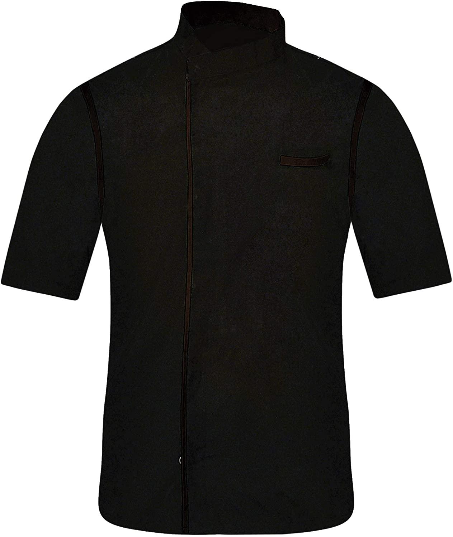 Leorenzo Creation HN-06 Men's Black Chef Jacket Cancel Strip One (Size- XXS-7XL, Strip in 12 Colours)