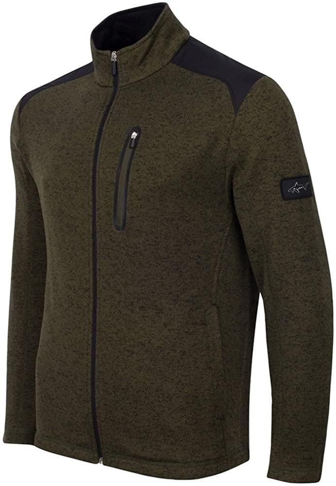 Greg Norman Mens Solid Colorblock Fz Fleece Jacket