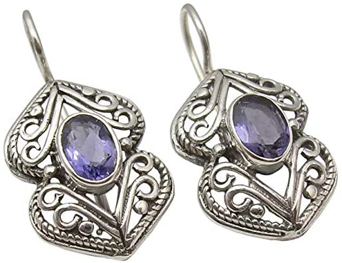 SilverStarJewel Solid Sterling Silver Faceted Iolite Antique Style Earrings 1.2