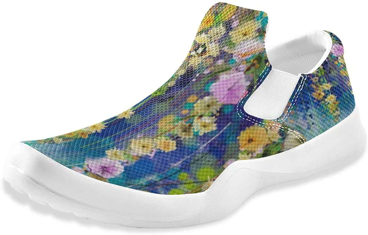 Watercolor Colorful Flowers Men's Slip On Loafers Casual Shoes Comfort Lightweight Driving Sneakers