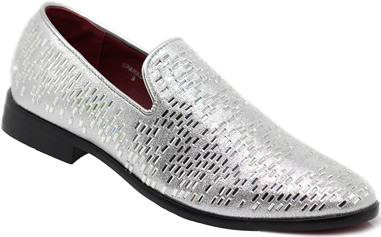 SPK19 Men's Vintage Fashion Rhinestone Designer Dress Loafers Slip On Shoes Classic Tuxedo Dress Shoes