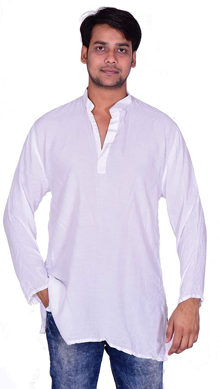 Lakkar Haveli Men's Indian Tunic Henley Shirt Kurta Solid White Color 100% Cotton Big Tall