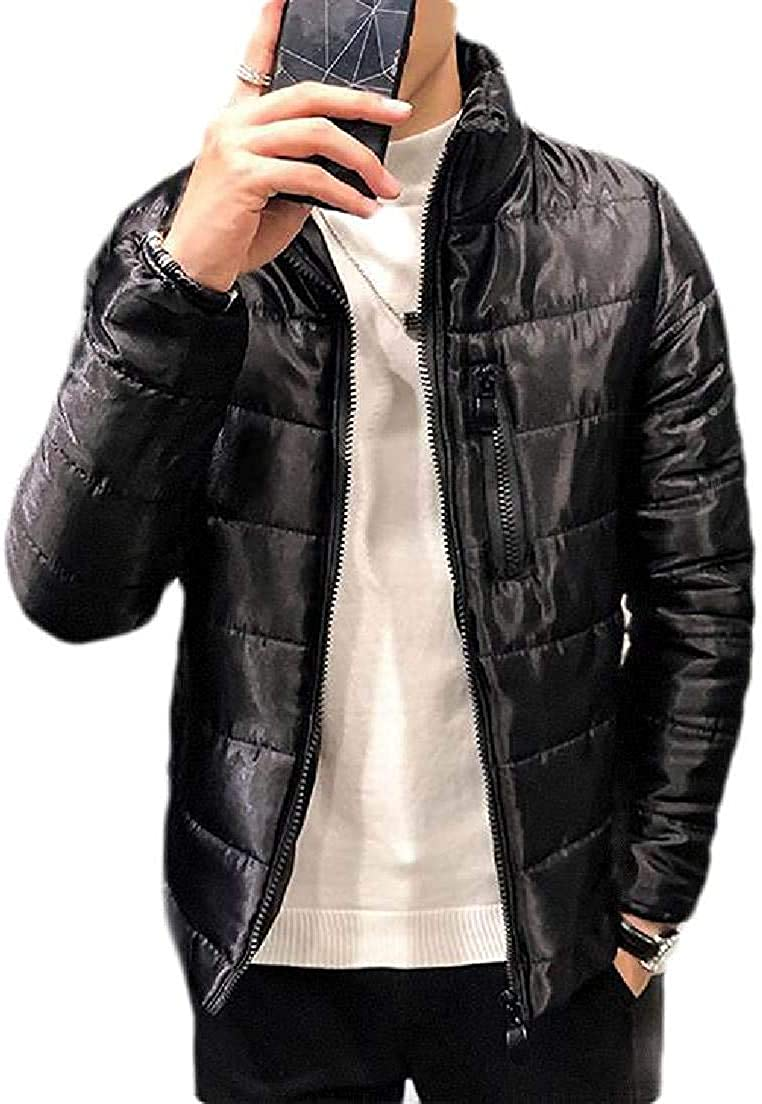 Xudcufyhu Men Stand Collar Metallic Quilted Padded Big & Tall Puffer Down Jacket