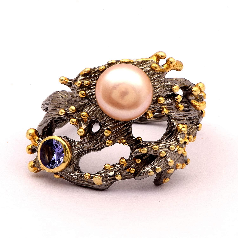 Shine Jewel 7mm Round Rose Pearl 4mm Tanzanite Bohemian Art Deco Engagement Vintage Ring Fine 925 Silver Women's Girls