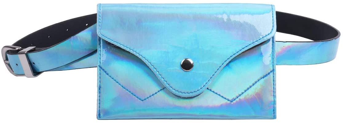 TiaoBug Women Fashion Holographic Waterproof PVC Waist Pouch Belt Bag Travelling Phone Purse Sky Blue One Size