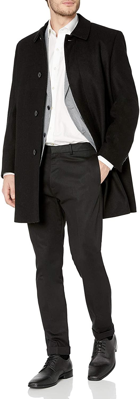 Hart Schaffner Marx Men's Topper Dress Wool Top Coat, Black, 48R