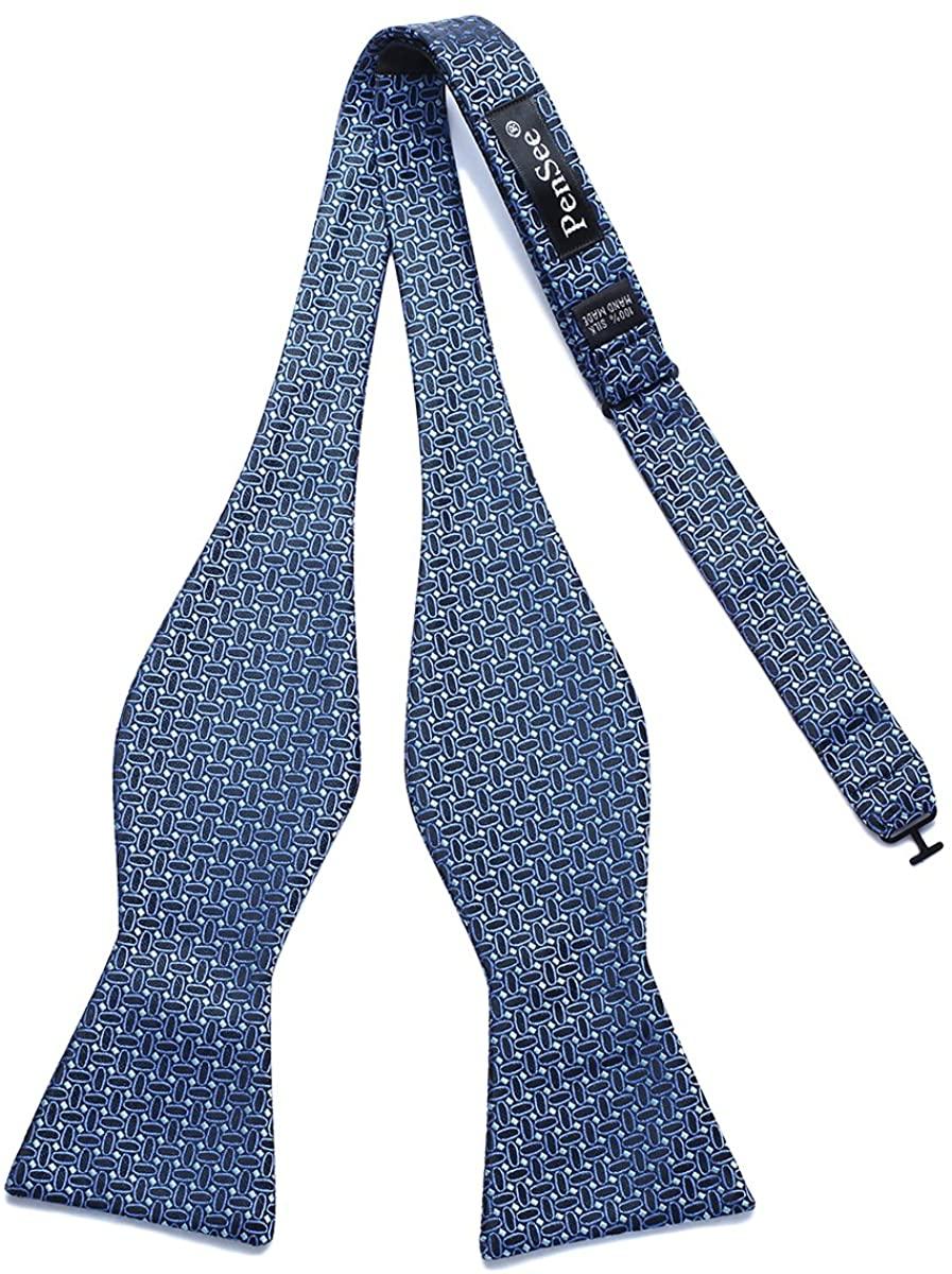 PenSee Mens Self Tie Bowties Geometric Design Ovals Woven Jacquard Bow Ties
