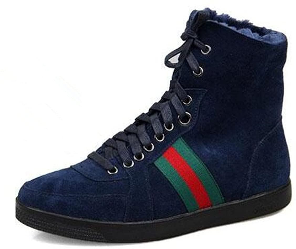 HAPPYSHOP(TM Cow Leather Men's Fashion Snow Boots Lace-ups Wool Ankle Boots (38 M EU, Blue)