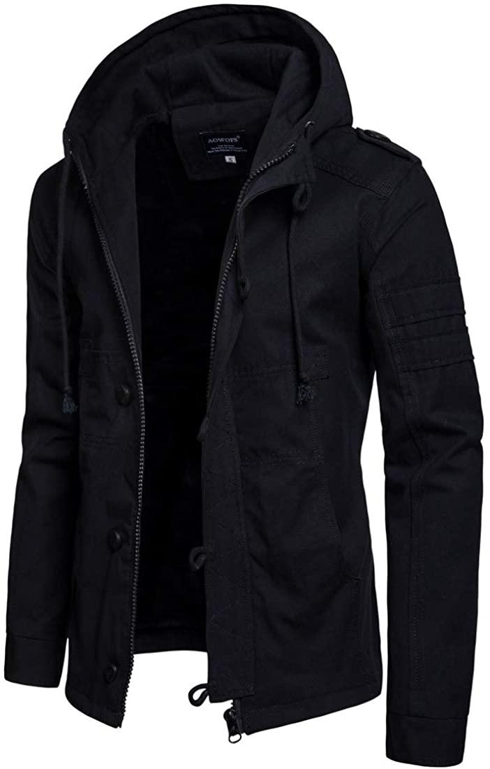 Men's Pure Color Zipper Hooded Cotton Fashion Jacket Coat