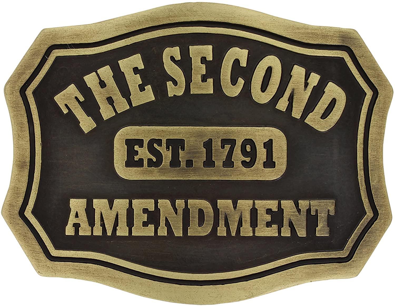 Montana Silversmiths Second Amendment Plaque Attitude Buckle - A704C