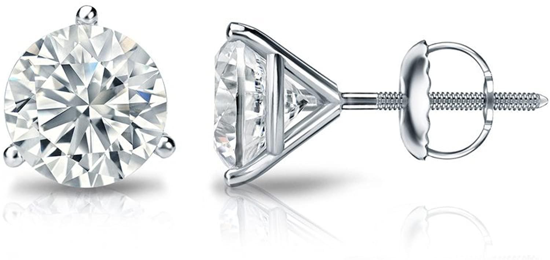 14k Gold Round Diamond Stud Earrings (1/6 to 2cttw, J-K, I1-I2) 3-Prong Martini set with Screw-backs Diamond Wish