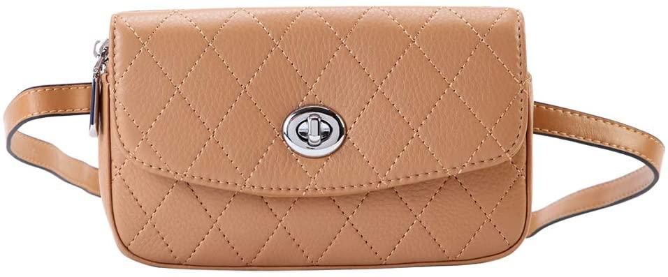 ELBORN PYO Women Leather Belt Bags Fanny Pack Crossbody Shoulder Purse Chest Wallet (Brown)