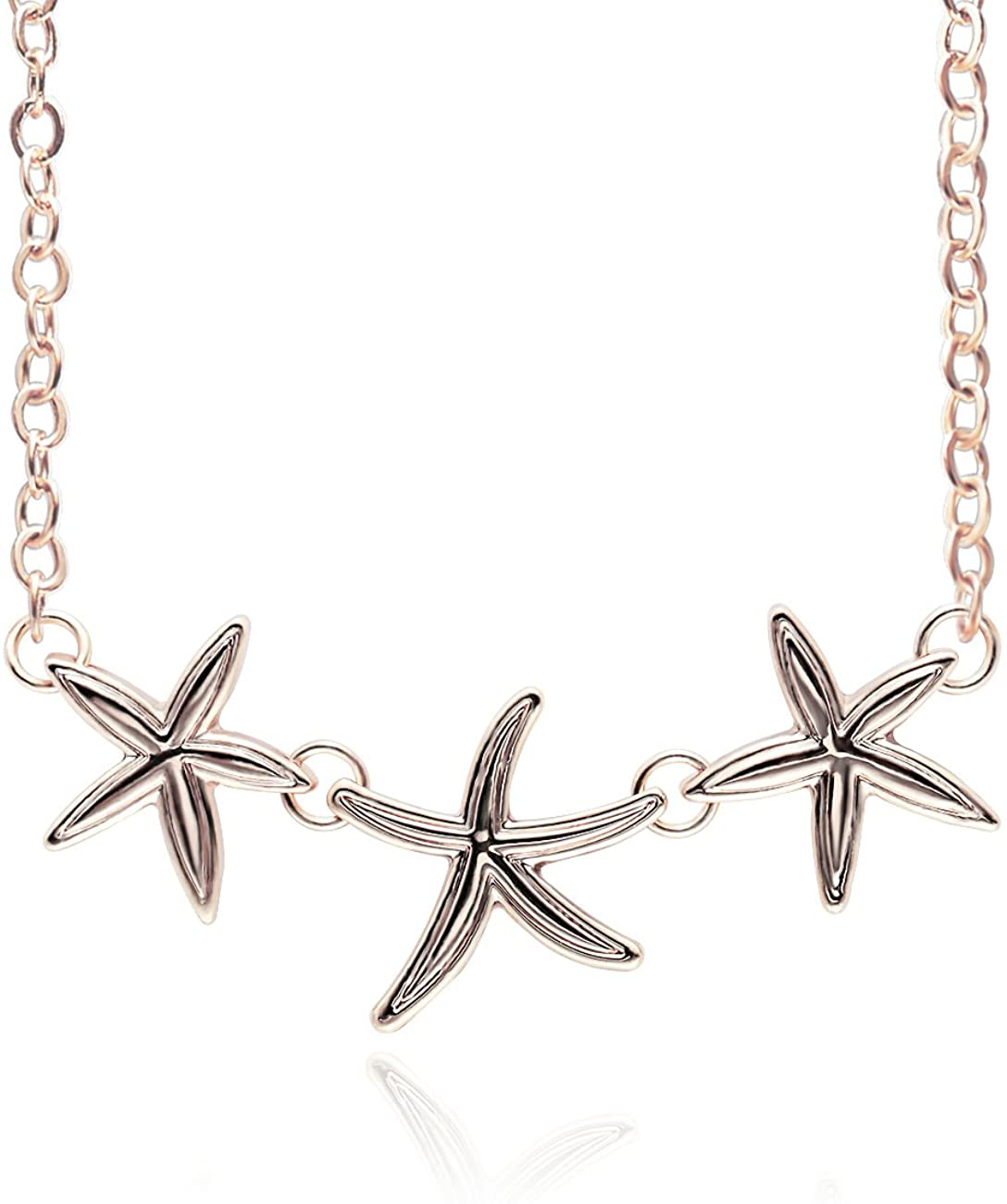 PANGRUI Simple Triple Starfish Sea Stars Pendant Necklace Beach Summer Jewelry,Seaside Holiday Fresh Style Romantic Necklace
