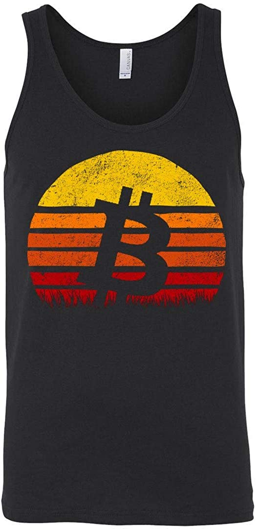Bitcoin Retro Sunset Tank Top Sun Silhuette Cryptocurrency Technology Black