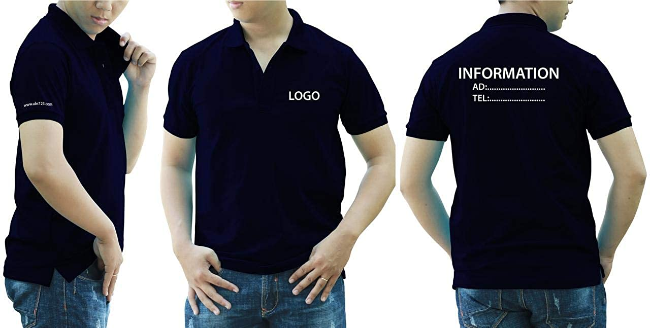 Add Your Logo Text Design Image Picture. Custom Polo. Personalized Polo. Printed On Polo & T-Shirt Uniform with Multi Sides. International Pack of 10 Navi Blue