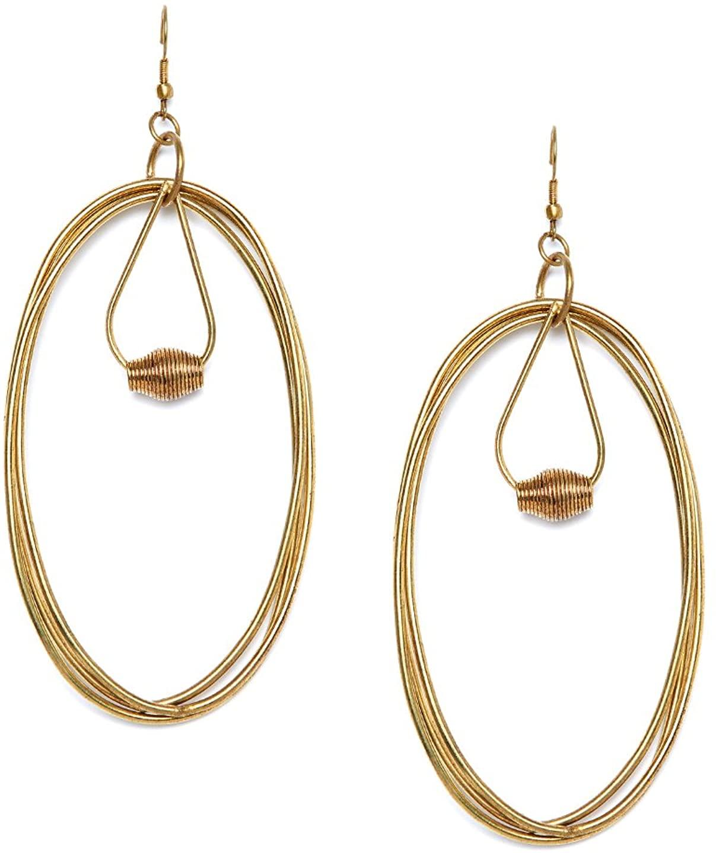 ZeroKaata Fashion Jewellery Multi Oval Swirls Gold Plated Designer Western Earrings For Girls and Women