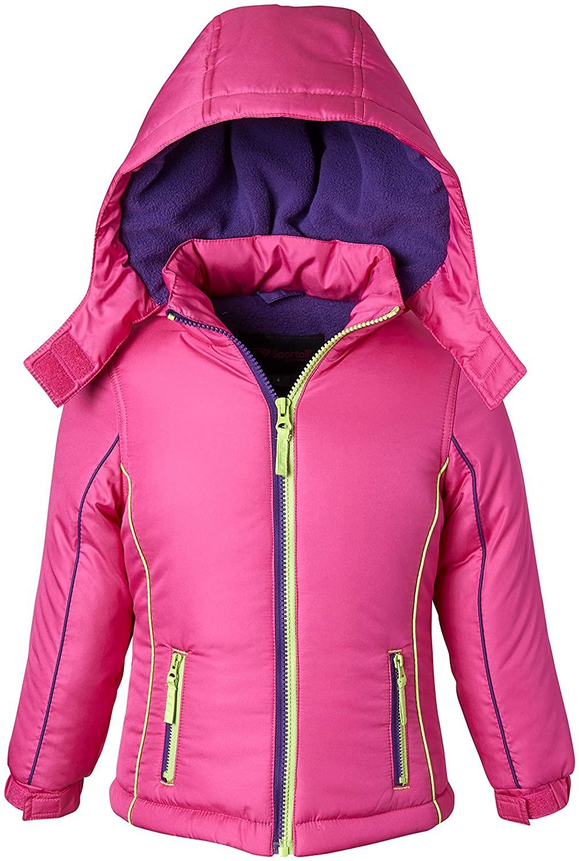 Coats for Girls Fleece Lined Snowboard Hooded Colorblock Winter Puffer Jacket