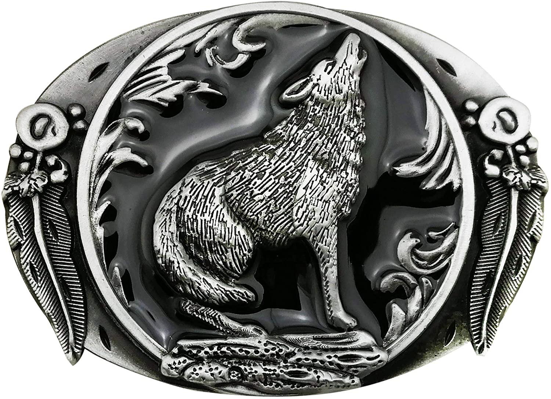 Lanxy Belt Buckle For Men Fashion Retro Western Cowboy Wolf Leaf Buckles Blue Enamel Grey Tone