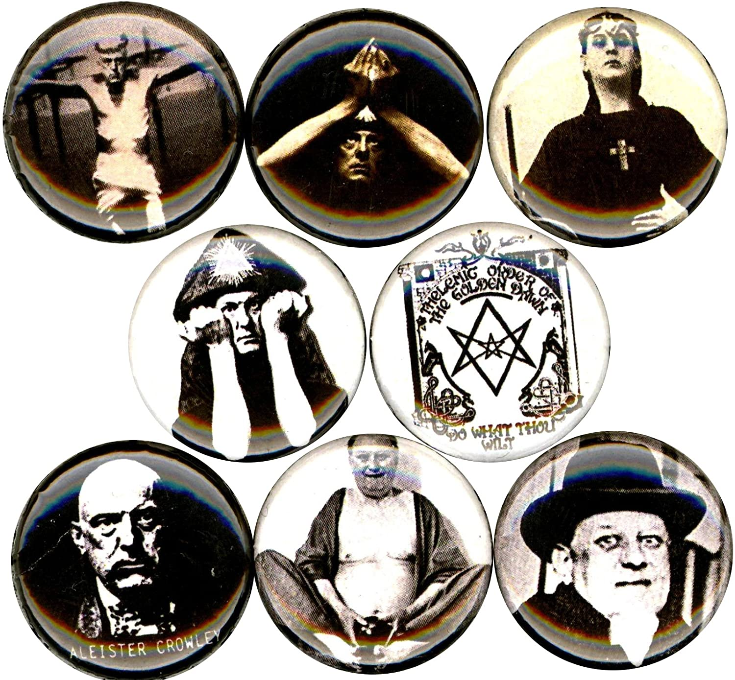 ALEISTER CROWLEY 8 NEW 1 Inch (25mm) Set of 8 Pinback Buttons Badges Pins