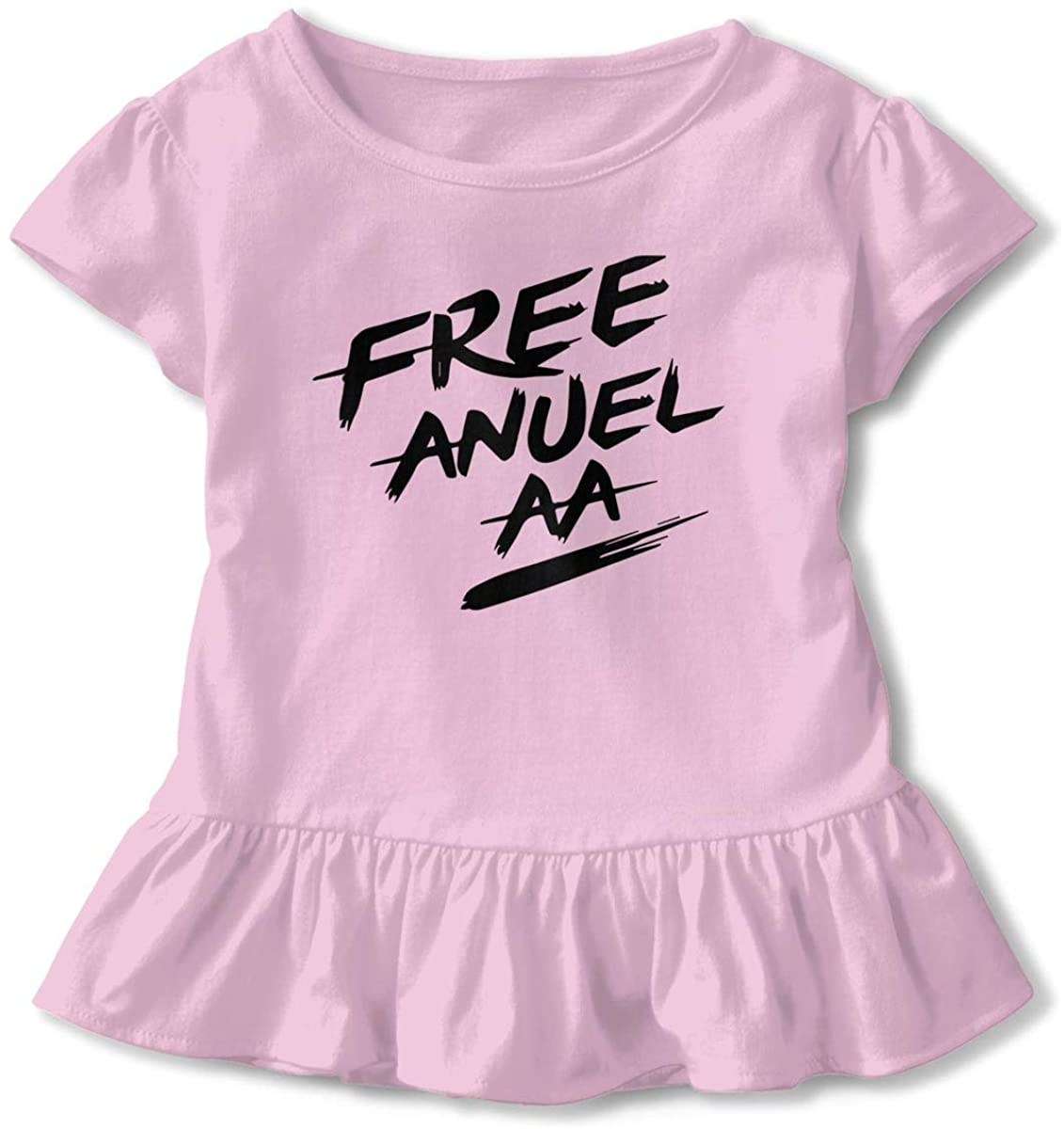 Kids Anuel-AA Logo Toddler Short Sleeve T Shirt Children Girls Cotton Graphic Tee Soft Dress (2-6T)
