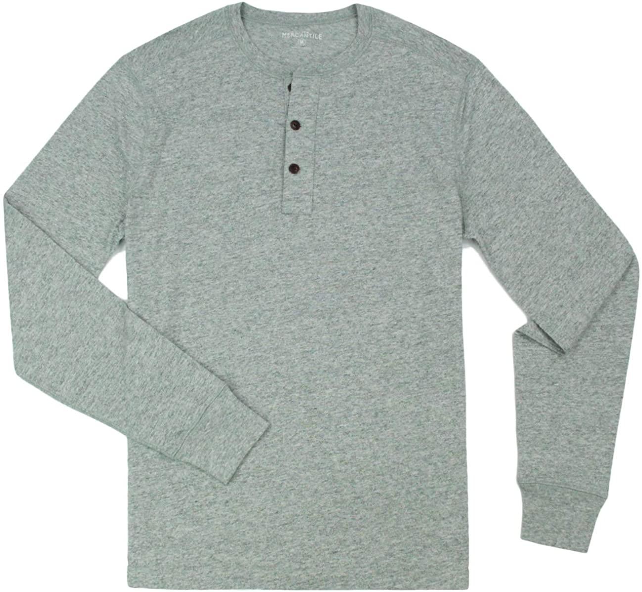 J. Crew Men's Long Sleeve Cotton Henley Shirt, Multiple Colors and Sizes