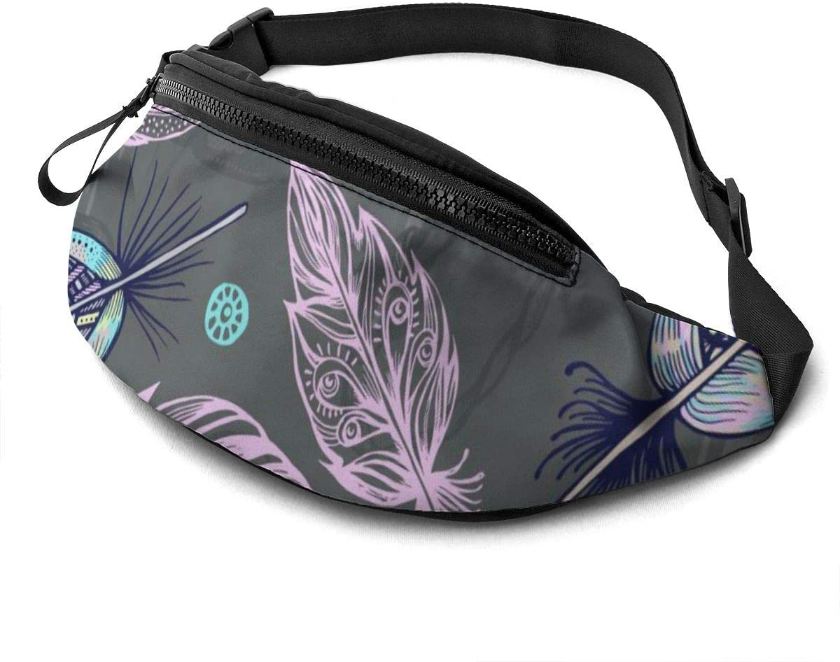 Beautiful Feathers Fanny Pack For Men Women Waist Pack Bag With Headphone Jack And Zipper Pockets Adjustable Straps